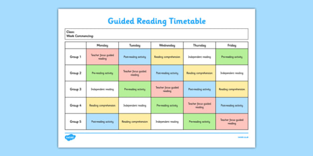 Guided Reading Timetable - guided reading, template, guided, reading