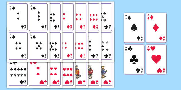 Printable Playing Cards - printable, playing cards, wet play