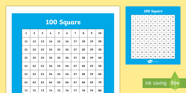 100 Square (Hundred Square) - Number square, hundred square, Counting