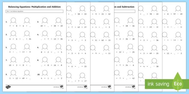 Ks2 Balancing Equations Worksheet Activity Sheets Ks2