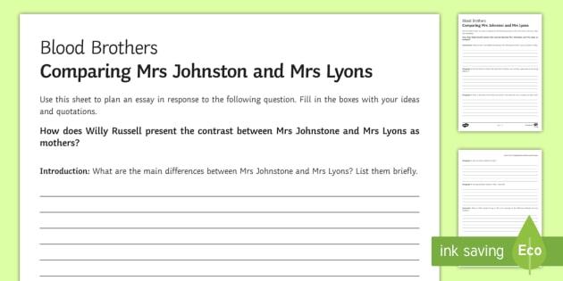 Blood Brothers Mrs Johnston and Mrs Lyons LA Essay Plan Worksheet
