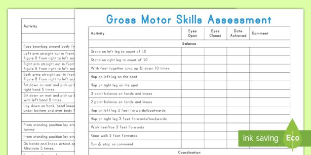 Gross Motor Skills Assessment Sheet - assessment, gross motor skills