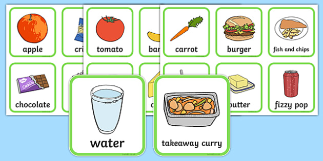 Healthy And Unhealthy Sorting Activity - food, sorting card, flashcards