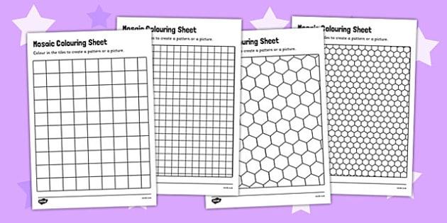 Mosaic Colouring Sheets - mosaic worksheets, deign a mosaic, mosaic
