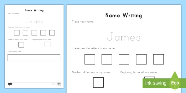 Editable Name Writing Practice Worksheet / Activity Sheet - All