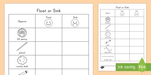 Float Or Sink Worksheet Worksheet Physical Science
