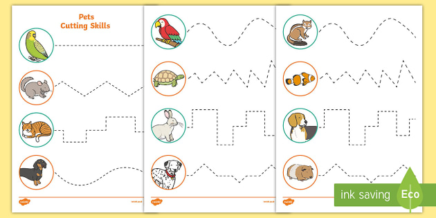 Pets-Themed Cutting Skills Worksheet / Worksheets - Pets, cat, dogs