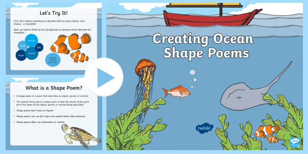 Ocean Shape Poetry PowerPoint - Under the sea, poems, Similes