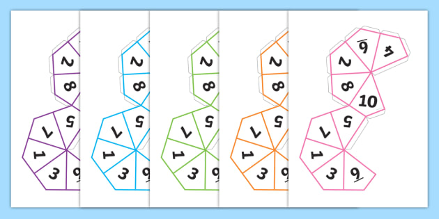 FREE! - Dice Net (1-10) - dice, 1-10, templates, how to make a dice