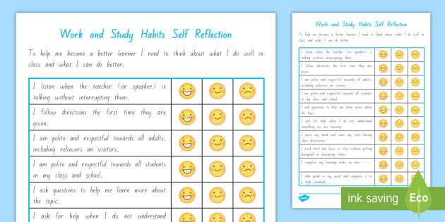 Work and Study Student Self Assessment Checklist - Student Self - student self assessment