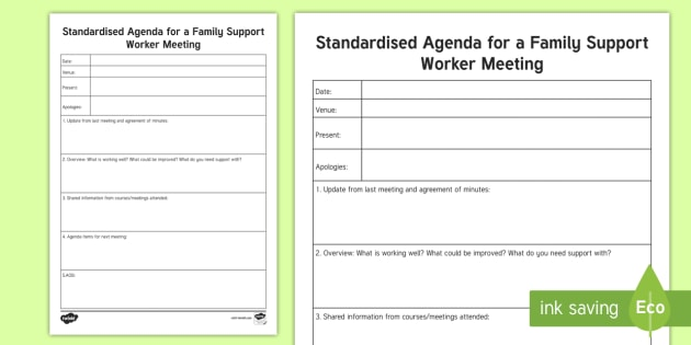Standard Agenda for a Family Support Worker Meeting Planning Template