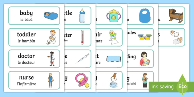 NEW * Baby Clinic Role Play Word Cards English/French - Baby Clinic Role