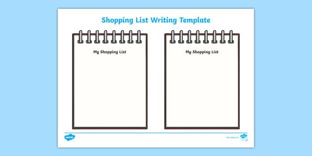 FREE! - Shopping List Writing Template - Blank shopping list