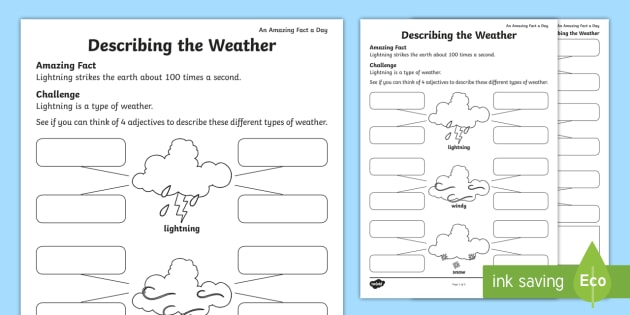 Describing the Weather Worksheet / Worksheet - Amazing Fact Of The Day