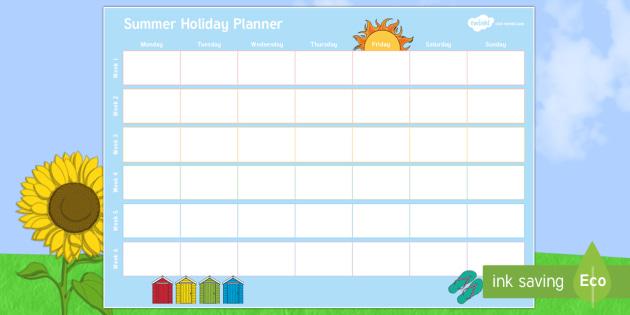 Summer Holiday Calendar Plan - Summer Holiday Calendar Plan