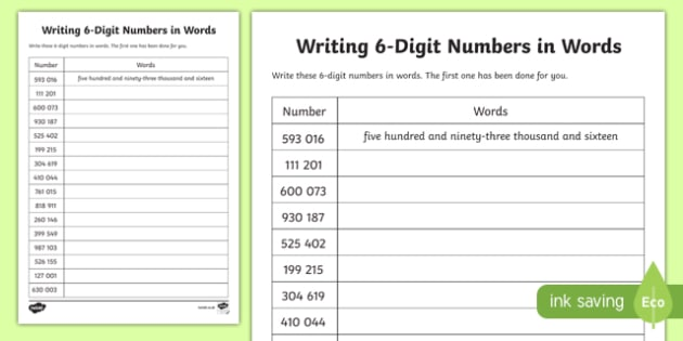 Place Value Writing 6-Digit Numbers in Words Worksheet / - Numbers In Writing