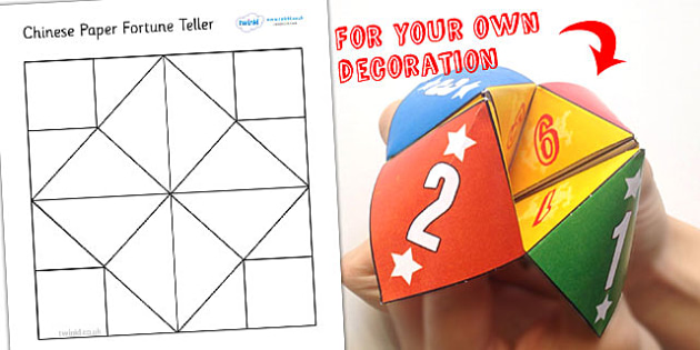 FREE! - Chinese New Year Blank Paper Fortune Teller Template - fortune