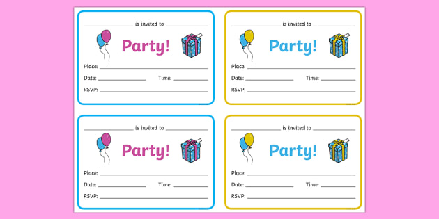 Editable Invitation Template Ks1 Birthday Party Invitations - Birthdays, Birthday Party, Party
