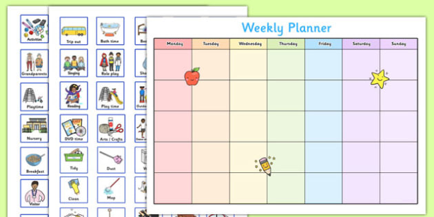 Toddler and Young Children Weekly Planner - baby, toddler, two