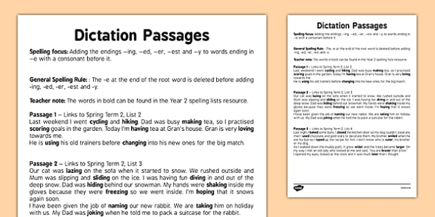 Dictation Passages - Adding the Endings -ing -ed -er -est and -y