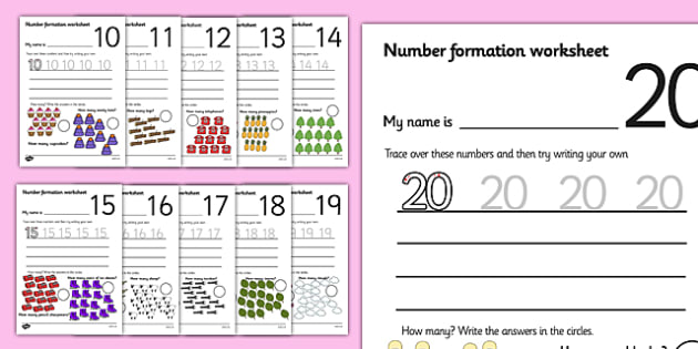Number Formation Worksheets (10-20) - Handwriting, overwriting - Numbers In Writing