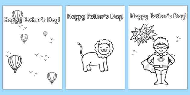 Father\u0027s day card templates colouring - father, dad, colour in