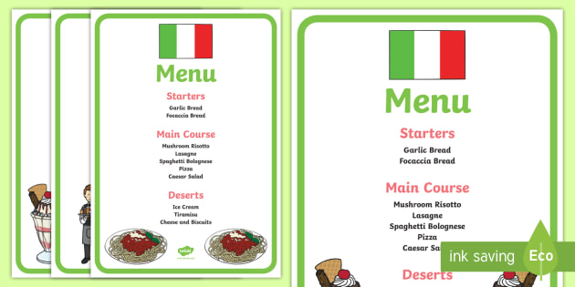 Italian Restaurant Role Play Display Banner - Italian - italian menu