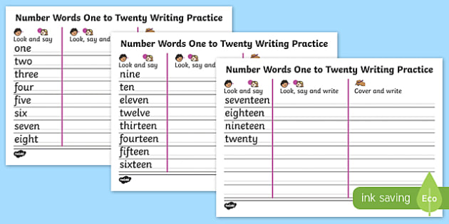 Number Words One to Twenty Writing Practice Sheets - write - Numbers In Writing