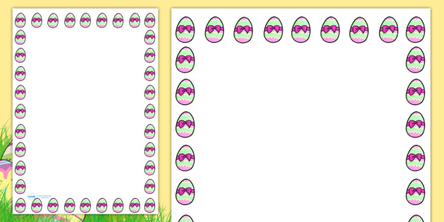 FREE! - Easter Egg with Ribbon Portrait Page Borders- Portrait Page