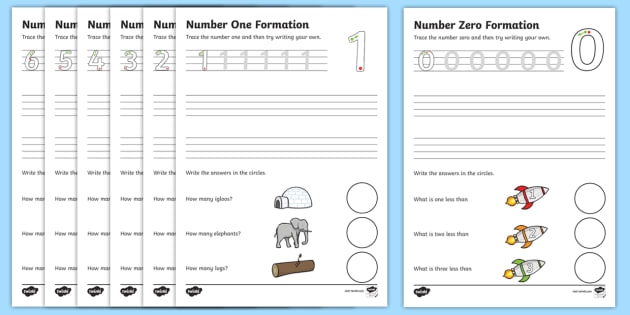 Number Formation Worksheets (0-9) - Handwriting, number