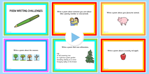 Poem Writing Challenge PowerPoint - poems, poetry, literacy - poetry powerpoint