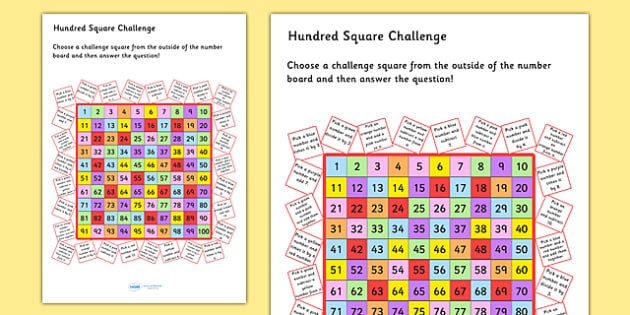 Hundred Square Challenge Sheet - count, counting aid, numeracy, Hundred