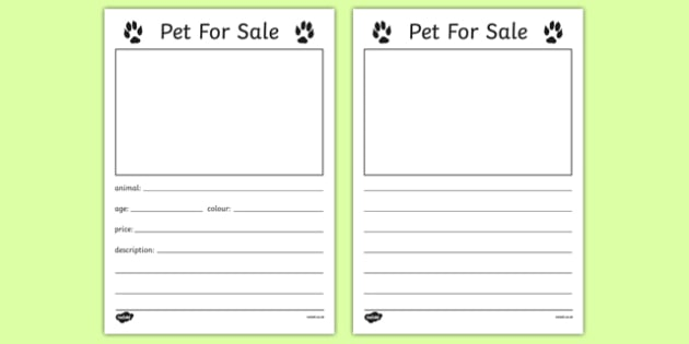 Pet for Sale Writing Template - Pet shop, pets, pet, role play - for sale template