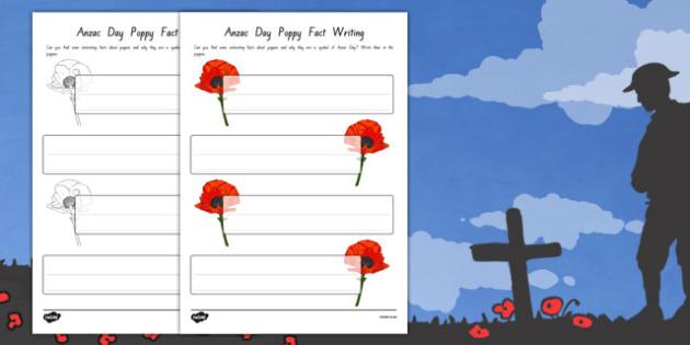 Anzac Day Poppy Fact Writing Templates - nz, new zealand, anzac day