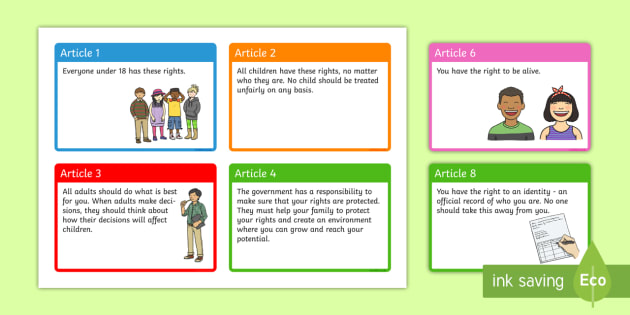 UN Rights of a Child A6 Display Cards - un, rights of a child