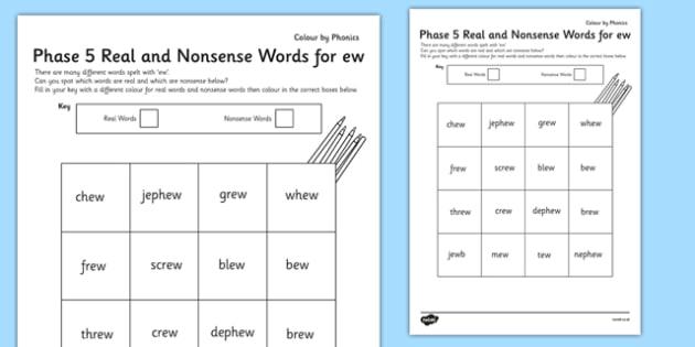 Ew Phonics Worksheets - phase 5 - phonics worksheet