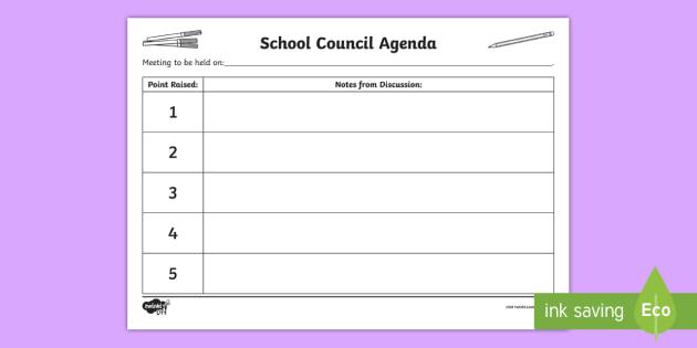 NEW * Pupil Voice - School Community - School Council Meeting Agenda