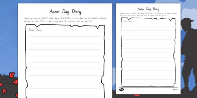 Anzac Day Diary Writing Template - writing, diary, Anzac - diary paper template