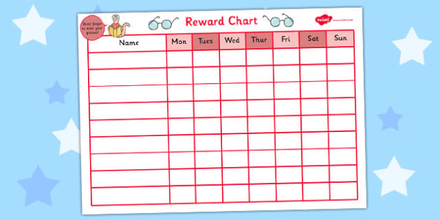 Reward Sticker Chart for Wearing Glasses - reward, sticker - sticker chart