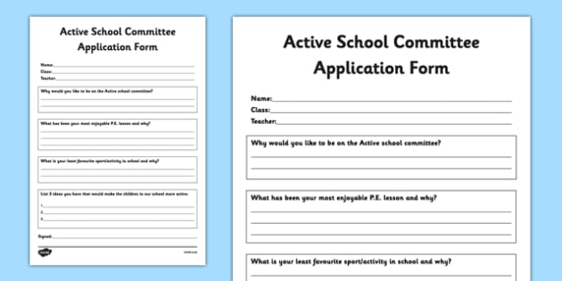 Active Committee Application Form - active school, active flag, blue