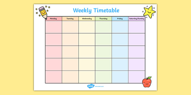 Weekly Timetable - weekly, time table, time management, class plans