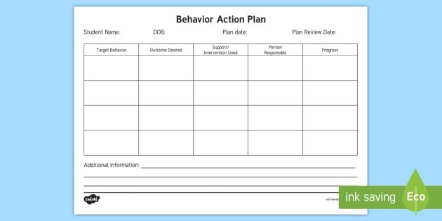 Behavior Action Plan Form - Behavior, Intervention, Plan