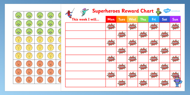 behaviour chart for boys, Superheroes Reward Sticker Chart - superheroes