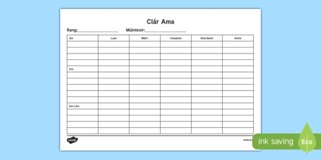 ROI Irish Gaeilge Class Timetable Checklist - class timetable template