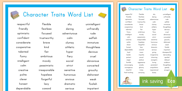 Character Traits Display Poster - Character Analysis
