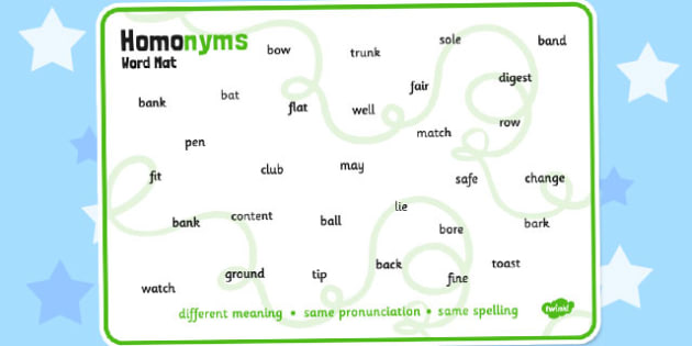 Homonyms Word Mat - homonym, example, words, word, mat, aid