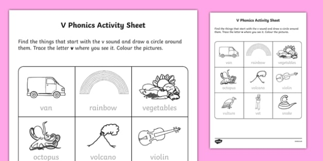 v Phonics Worksheet / Worksheet-Irish, worksheet