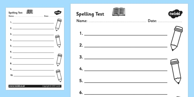 Spelling Test Template Worksheet - spelling test, spelling test