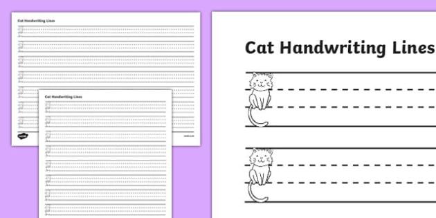 Cat Thirds Handwriting Lines - cat, thirds, handwriting lines