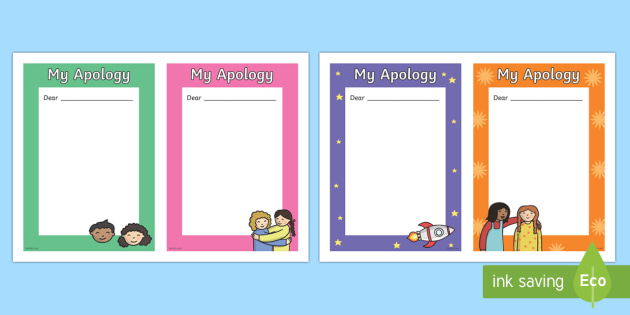 My Apology Letter Writing Frames - my apology letter, letter - letter of apology